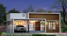 3 bedroom flat roof box model contemporary house in an area of 1100 square feet by Diagonals, Calicut, Kerala. Small House Exteriors, Small Modern House Plans, Modern Small House Design, Modern House Facades, Modern Bungalow House, Modern Architecture, House Outer Design, Single Floor House Design, House Outside Design