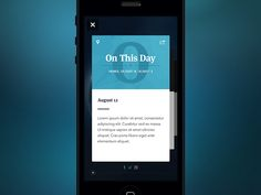 On This Day Mobile App Cards Cover Flow Style User Interface Design #UI