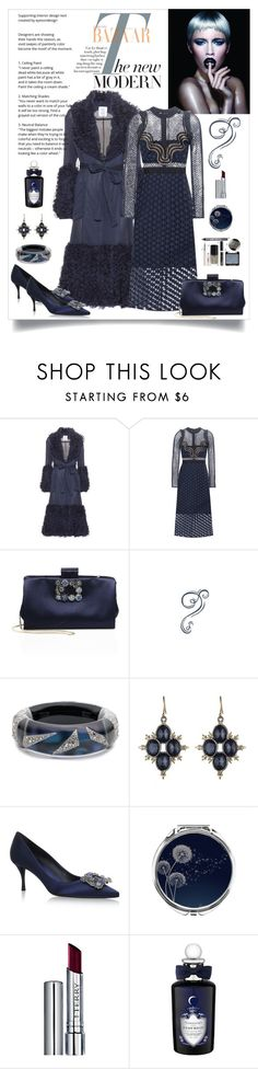"""""""Self Portrait Star Repeat Midi Dress Look"""" by romaboots-1 ❤ liked on Polyvore featuring Wella, self-portrait, Roger Vivier, Alexis Bittar, By Terry and PENHALIGON'S"""