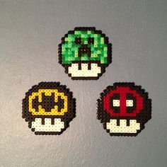 Nintendo mushrooms perler beads by beardiewiththebeard