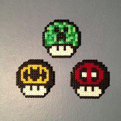 Nintendo mushrooms perler beads by beardiewiththebeard