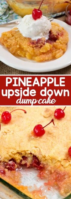 Pineapple Upside Down Dump Cake - This EASY pineapple upside down cake recipe has only 4 ingredients!! Simply dump the recipes into the pan and bake. The easiest cake recipe EVER and it feeds a crowd!