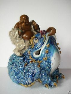 limited handmade five colours Chinese ceramic lucky buddha on Spittor fengshui