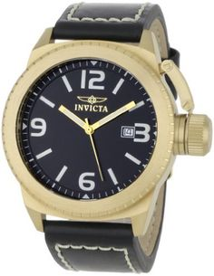 Invicta Men's 1111 Corduba Collection Black Dial Black Leather Watch Invicta. $59.95. Date function. Black dial with gold-tone hands, white hour markers and arabic numerals; luminous; screw-down secured cap on crown. Water-resistant to 330 feet (100 M). Precise Swiss-quartz movement. Durable flame-fusion crystal; brushed 18k gold-plated stainless steel case; black leather strap with white contrast stitching. Save 88% Off!