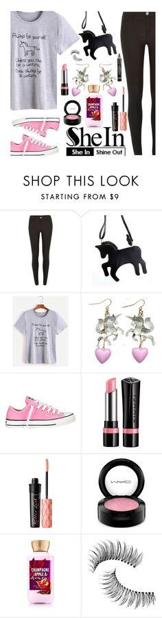 """SheIn Unicorn T-Shirt"" by deborah-calton ❤ liked on Polyvore featuring River Island, Converse, Rimmel, Benefit, MAC Cosmetics, Trish McEvoy, L'Oréal Paris and unicorn"