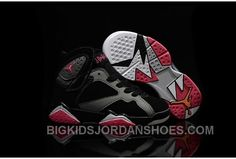 official photos f1501 f3033 New 2016 Nike Air Jordan 7 Retro GS Black Silver Red Sneakers Kids  Basketball Shoes 442950-008