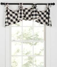 This lovely flounce tab valance is lined and made with front tabs for use with decorative curtain rods and made with ties to go around tabs.The valance fits windows up to 59 wide - Decorative Curtains - Ideas of Decorative Curtains Ikea Curtains, Living Room Decor Curtains, No Sew Curtains, Valance Curtains, Bedroom Curtains, Navy Curtains, Burlap Valance, Patterned Curtains, French Curtains
