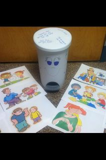 """A Bucket Filling activity using pictures to represent """"bucket filling"""" and """"bucket dipping"""" behaviors."""