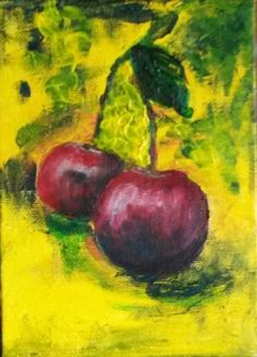 "Again about Cherry Acrylics on canvas panel 5""x7"""