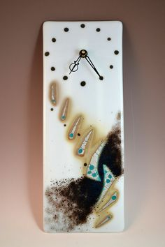 Abstract Contemporary Fused Glass Clock by Krenzin11 on Etsy, $160.00