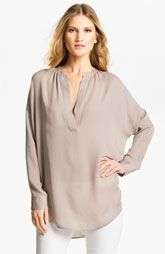 Vince 'Popover' Silk Tunic available at McManamy Silk Tunic, Tunic Blouse, Tunic Tops, Western Tops, What To Wear, Casual Outfits, Nordstrom, Style Inspiration, Fur Vests