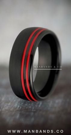 Black Ember Men's wedding band | black and red plated tungsten wedding band | Style