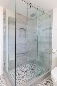 Glass Bathroom Door, Sliding Bathroom Doors, Shower Sliding Glass Door, Bathroom Shower Doors, Small Bathroom, Sliding Door, Bathrooms, Glass Doors For Showers, Gray Shower Tile