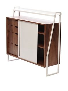 nine6 Design City Life Sideboard, Walnut/White