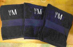 Monogrammed Towels for a Boys Bathroom Monogrammed Beach Towels, Monogram Towels, Isaiah 6, Bathrooms, Embroidery, Boys, Projects, Fun, Baby Boys