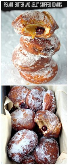 OMG! Bakery Style Peanut Butter and Jelly Doughnuts made at home - so much better than the store bought ones and so fun to make!