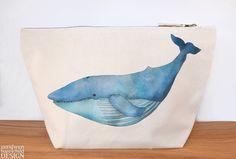 #Blue Whale Canvas Wash Bag Large Zipper Pouch Makeup Bag Toiletry Bag Accessory Bag Ceridwen Hazelchild Design