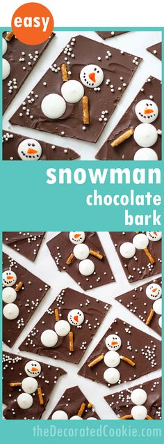 Easy snowman chocolate bark! A great homemade holiday food gift idea. Fun Christmas treat.