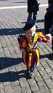 """Both the mini Swiss Guard and the story are adorable!  """"But I'm the Pope. Sit down."""""""