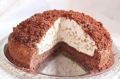 Крем: 15 грамм - желатина; 1/4 стакана - воды; 500 мл. - сливок; 4-5 - бананов; 250 грамм - творога пастообразного; 150 грамм - сахара; 100 грамм - шоколадной стружки; какао. Торт «Норка крота».