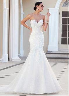 Rabatt Elegantes Tulle Schatz-Ausschnitt-natürliche Taille Meerjungfrau Brautkleid mit Perlen Spitze Appliques bei Dressilyme.com bekommen