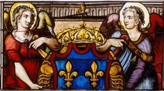 Réunion des Musées Nationaux-Grand Palais - Ecouen: vitraux - BEAURAIN NICOLAS (16°s) peintre sur E.CL.1048. Deux anges présentant l'écu aux armes de France, vitrail provenant de la Ste-Chapelle du château de Vincennes vers 1556. Partie haute. 16°s, France (origine).