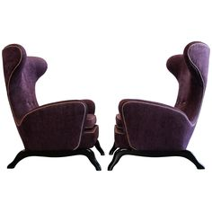 Extraordinary Pair of 1950s Italian Sculptural, Wingback Chairs. | From a unique collection of antique and modern wingback chairs at https://www.1stdibs.com/furniture/seating/wingback-chairs/