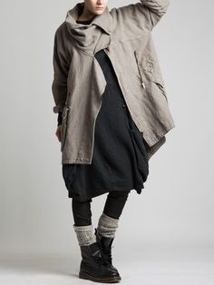 Thick Rustic Cotton Coat with Polar Lining by LURDES BERGADA
