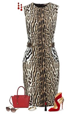 Leopard fashion by julietajj on Polyvore featuring polyvore fashion style Roberto Cavalli Christian Louboutin MICHAEL Michael Kors Vanhi Diane Von Furstenberg Swarovski Forever 21 clothing