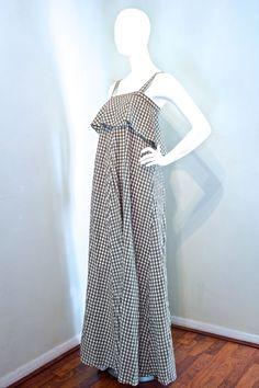Vtg 70s BIBA maxi sun dress in olive white by VicAndBertieVintage