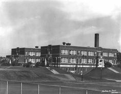 """Keewaydin Elementary School, Minneapolis, 1934. 5209 30th Avenue South  Built in 1928. The name means """"northwest wind"""", and is taken from Longfellow's poem """"The Song of Hiawatha""""."""