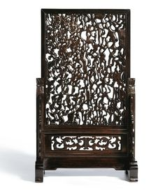 An unusual imitation rootwood reticulated table screen, Qing dynasty,18th-19th century