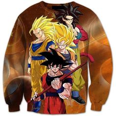 6a96c7f91af8 Goku s Super Saiyan SSJ4 Warrior Transformation Nerd 3D Sweatshirt. Saiyan  Stuff
