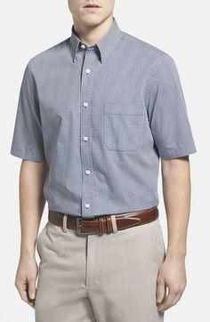 Men's Nordstrom Regular Fit Print Short Sleeve Poplin Sport Shirt