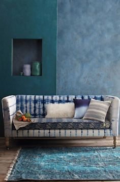 #blue hand-dyed sofa http://rstyle.me/n/jby49r9te
