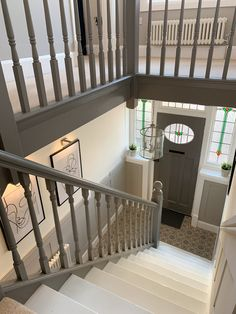 Entrance Hall Decor, Hallway Ideas Entrance Narrow, Entry Stairs, Stair Paneling, Panelling, Painted Staircases, Painted Banister, Banisters, Tiled Hallway