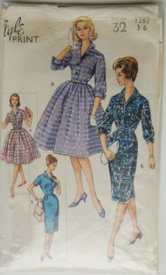 Vintage Sewing Pattern-1950s Full/Straight Shirt Waister Dress Size 10/Bust 32 | eBay