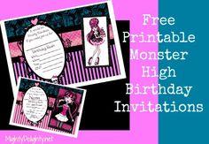 Free Monster High Birthday Invitations