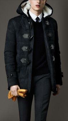 Downfilled Suede Duffle Coat - Lyst
