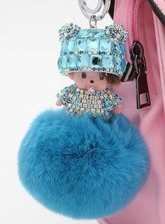 Crystal Monchichi sleutelhanger kiki Dolls real fur pom pom keychain car key chain ring women charm bag pendant porte clef