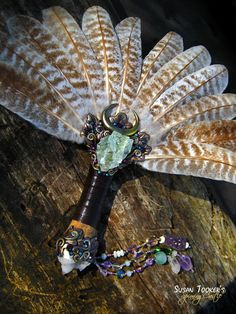 AVALON MYSTERY - Ritual Smudge Fan with Turkey Feathers, Green Fluorite & Spirit Quartz by Susan Tooker of Spinning Castle.