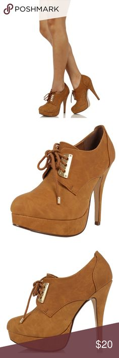 Talent Tan Lace Up Platform High Heel Ankle Boot These cute nubuck leather lace up heels feature a low cut , metal accent, slightly padded insole. Approx 5 platform approx 1. True to Size Shoes Ankle Boots & Booties