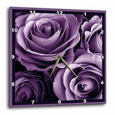 Purple wall art is funky, cute and currently trendy.  You can see how popular purple home wall art décor is on home décor shows on TV, Online and even in your own community.  Additionally purple wall art is truly charming and pretty.  #purple    3dRose Close Up of Dreamy Lavender Purple Rose Bouquet - Wall Clock, 13 by 13-Inch (dpp_29807_2)