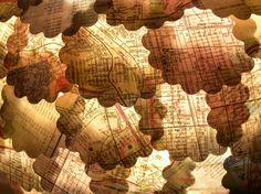vintage map lanterns. . .loveitsomuch!