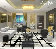 Star Designs, Game Design, Chandelier, House Design, Ceiling Lights, Curtains, Places, Table, Furniture