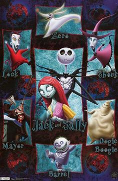 A great poster of Jack Skellington and the cast from Tim Burton's classic holiday movie - A Nightmare Before Christmas! Fully licensed. Ships fast. 22x34 inches