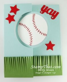Stampin' Up! Baseball Card by Becky: Fringe Scissors & Circle Card Thinlit Dies