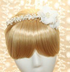 Wedding Bride Chiffon Flower Beaded Rhinestone by blinggarden, $26.99