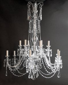 chandelier drawing | Pair of large crystal chandeliers | Fritz Fryer