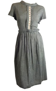 Black and White Gingham Dress w/ Pink Ribbon Trim circa 1960s - Dorothea's Closet Vintage